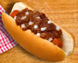 Thumb chili dog