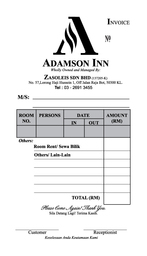 Thumb bill book 107mm x 190mm adamson inn